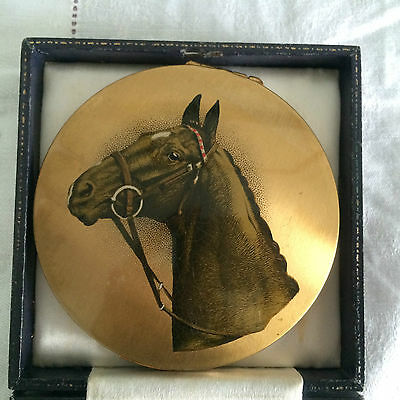 EXTREMELY RARE Vintage 1950s Large STRATTON Compact. Race Horse Equestrian. GIFT
