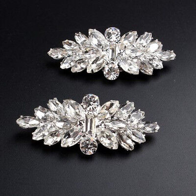 1 Pair Rhombus Crystal Tone Boots Shoe Clip Accessories Silver Bride Buckle New