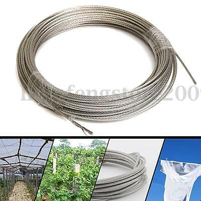 7x7 30M 304 Grade Stainless Steel Metal Wire Rope Cable Clothesline 1/8'' 100 Ft
