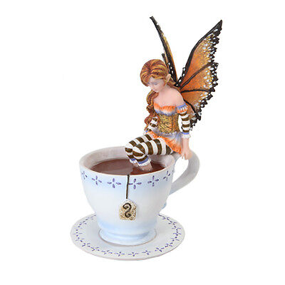 Warm Toes Faery Tea Cup Fairy Statue Figurine.Amy Brown Art Licensed Collection
