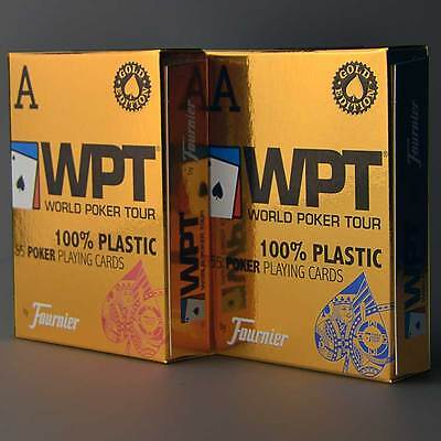 Fournier WPT Gold Edition Plastic Poker Playing Card Decks - Blue, Red
