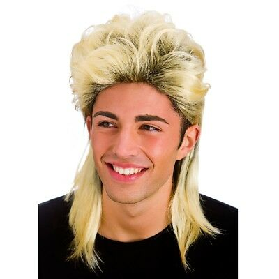 Blonde 80s Long Mullet Jason Donovan Scott Wig Mens Fancy Dress Wham Pat Sharpe