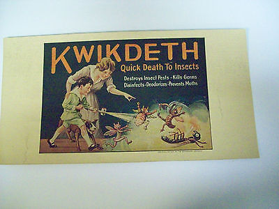 Kwikdeth Quick Death To Insects Vintage Advertising Sign 1920's