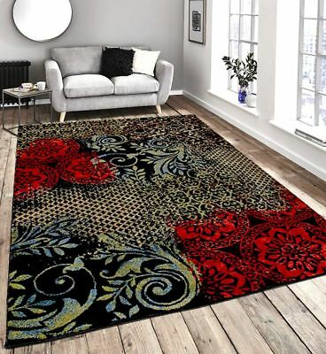 New Modern Extra Large Contemporary Black Red Beige Green Multi Rug 2 Sizes