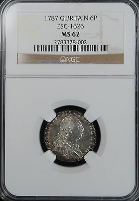 1787 GREAT BRITAIN 6d SIX PENCE ESC-1626 NGC MS 62 Sixpence No Hearts  KM# 606.1