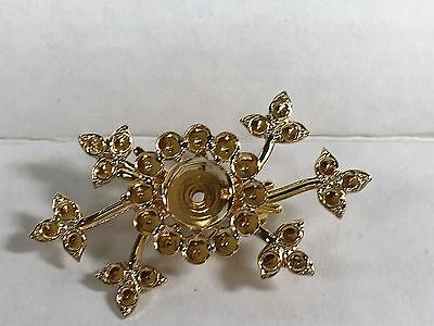 Vintage style brooch blanks gold plated with inserts for rhinestones Lot of 8