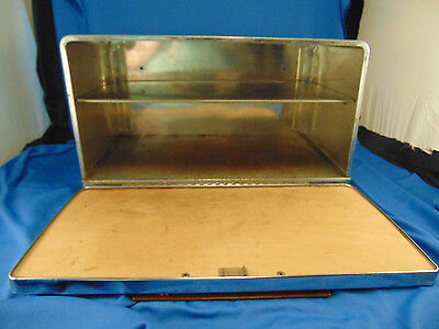 Vintage metal bread box container 2 shelf retro cutting board storage stainless