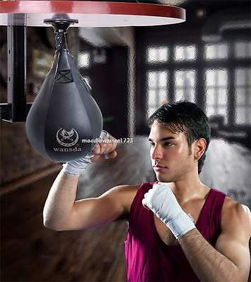 Leather Speed Ball & Swivel Boxing Punch Bag MMA Speed Bag Training Set