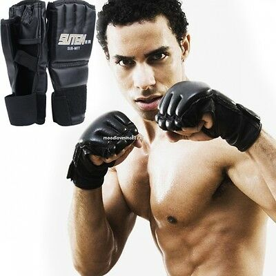 Leather Tech MMA UFC Grappling Gloves Fight Boxing Punch Bag Training Kick