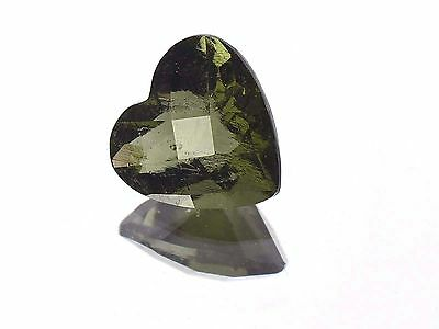 2.76cts heart 10x10mm CHECKER TOP moldavite faceted cutted gem BRUS1363
