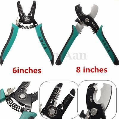 6/8'' Multifunctional Cable Wire Stripper Pliers Cutter Steel Spring Handle Tool