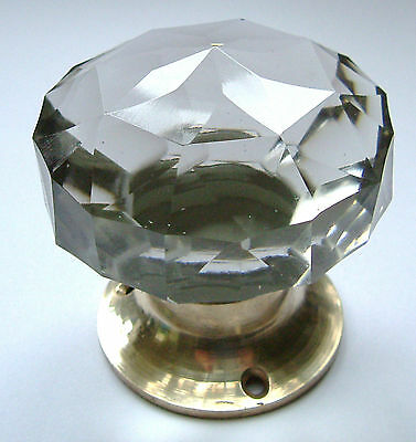 glass door knob - large crystal cut multifaceted Brass base (single) Beautiful !