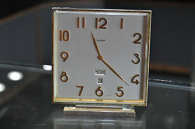 1960's Cartier Deco Gold Plated 8 Days Date Swiss Brass Table Mantle Clock Nice!