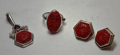 Sterling Silver Cinnabar Jewelry Set