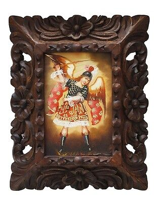 Archangel Michael Colonial Cuzco Peru Framed Painting on Canvas Handcarved