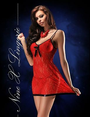 Nine X Sexy Lace Plus Size Lingerie 10-28 M-8XL Babydoll Chemise Red Xmas Gift