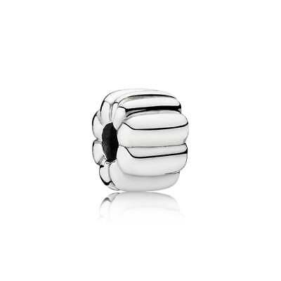 Authentic Pandora Ribbed Clip Bead Brand New Sterling Silver #790163 Charm F/sh