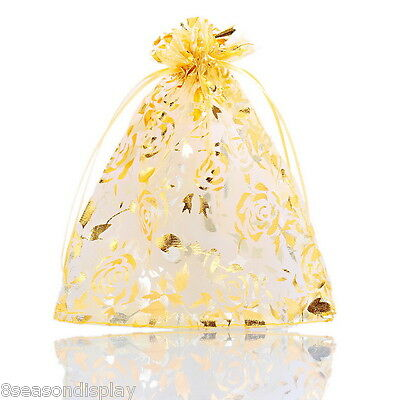25PCs 12cmx16.5cm Gold Rose Organza Gift Bags Pouches Wedding/Christmas Gift