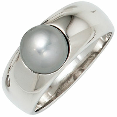 Ladies Ring with Freshwater Pearls grey Sterling Silver rhodium plated