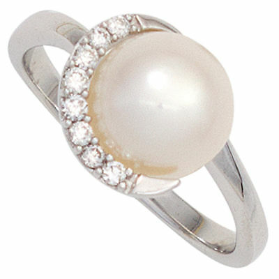 Ring Pearl Cultivated Freshwater & 8 Diamonds 585 Gold White