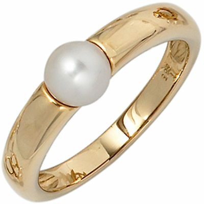 Ladies Ring Pearl Cultivated Freshwater white 585 Gold Yellow