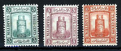 MALDIVE ISLANDS 1909 Watermark Multiple Rosettes Part Set SG 8 to SG 10 MINT