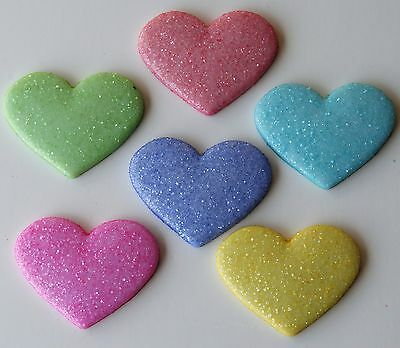 SUGAR HEARTS - Pastel Candy Love Dress It Up Glitter Flat-Backed Craft Buttons