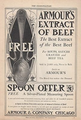 1903 Armour & Co Chicago IL Ad: Spoon Offer Silver-Plated Measuring Spoon