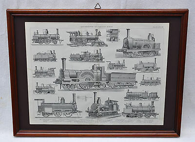 Locomotives of various kinds - antiker Stahlstich 19. Jh.