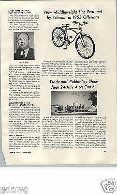 1955 PAPER AD Article Schwinn Bicycle Middleweight Corvette Tiger American Badge