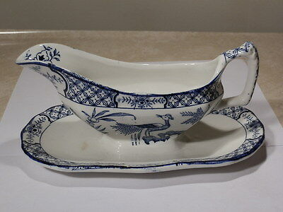 Wood & Sons Of England Yuan Gravy Boat W Attached Underplate Blue & White