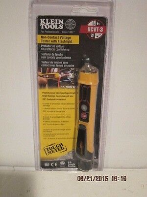 Klein Tools NCVT-3 Non-Contact Voltage Tester W/Flashlight F/SHIP NEW SEALED-PAK
