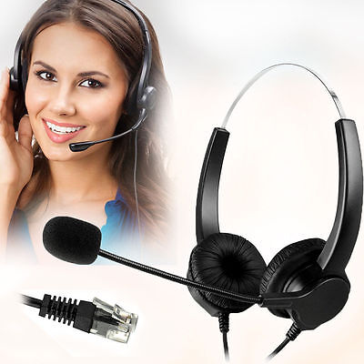 Call Center Noise Cancelling Corded Binaural Headset w Mic for Desk Telephone c