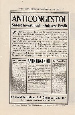 1907 Consolidated Mineral & Chemical Los Angeles CA Ad: Anticongestol Investment