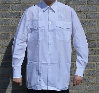 New Double Two Mens White Shirt Long Sleeve Uniform Police Security Prison 2860A