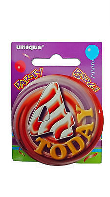 4 Today - 4th Birthday Party BADGE (5.5cm) (Gift/Craft/Card)(Boys/Girls) #81154