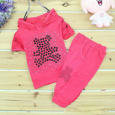 2 pz Nuovo Kids Baby Bambine T-shirt Top+ Pantaloni lunghi Set Vestito 2-5Y