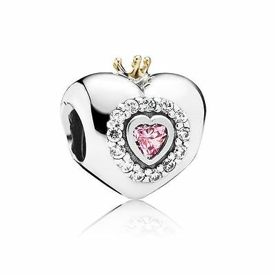 6bca866de Authentic Pandora Princess Heart Bead Brand New#791375Pcz Charm Pink Cz Two  Tone