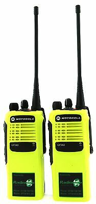 MOTOROLA GP340 UHF 4 WATT TWO WAY WALKIE-TALKIE RADIOS x 2 HI-VIZ YELLOW