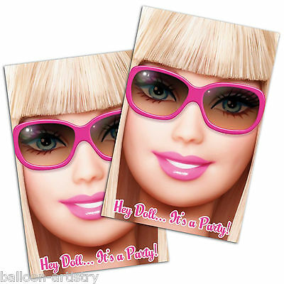 8 Pink Fashion Barbie Birthday Children's Party Invitations plus Envelopes