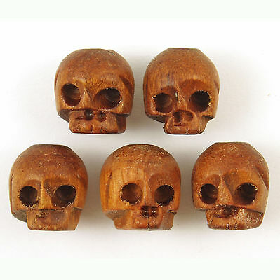 50 Handcrafted Wooden Wood Skull Head Beads 13x11mm