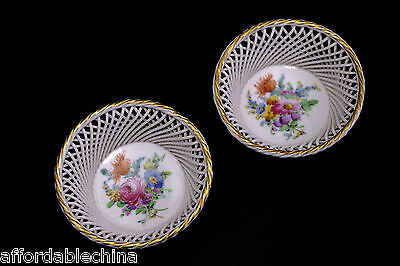 Ambrosius Lamm Reticulated Woven Porcelain Hand Painted Trinket Bowl Bowls