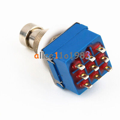 9-Pin 3PDT Guitar Effects Pedal Box Stomp Foot Metal Switch 9PIN True Bypass AL