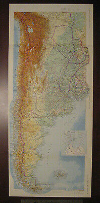 Vintage 1966 Britannica World Atalas Folio Map of Argentina, Chile, and Uruguay