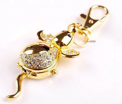 New 10pcs Cute Crystal Mouse Style boy girl lady Key Ring pocket Watches USR83