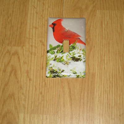 Northern Red Cardinal Wild Bird In The Snow Light Switch Cover Plate