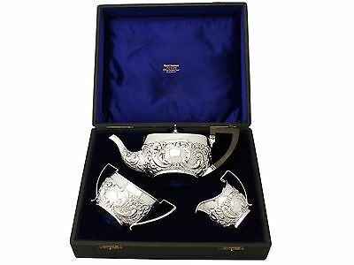 Antique Victorian Sterling Silver Three Piece Tea Set