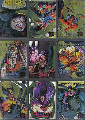 X Men Fleer Ultra 95 Set Of 9 Gold Hunters And Stalkers