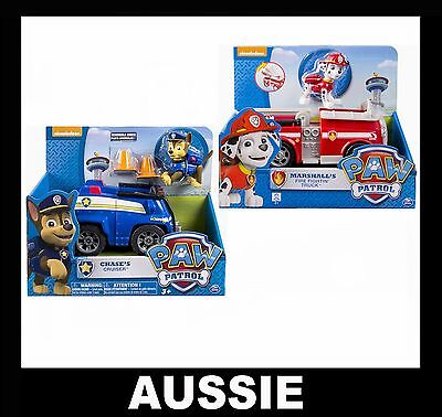 2 PAW PATROL Pup & Vehicle ~ Chase's Cruiser + Marshall Fire Fightin Truck NEW