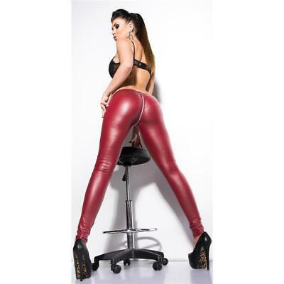 Sexy Clubstyle Glanz Leggings Wetlook Mit 2-Way-Zipper Bordeaux #h875